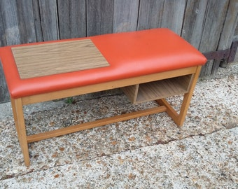 Vintage Retro Orange Leatherette, Formica and Beech Telephone Seat Settle Bench