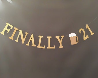 21st Banner, 21st birthday party banner, Birthday Party Decor, 21st Birthday Party garland, 21st birthday glitter banner