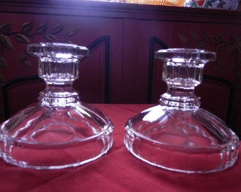 Vintage Cut Glass Candlestick Holders - Pair