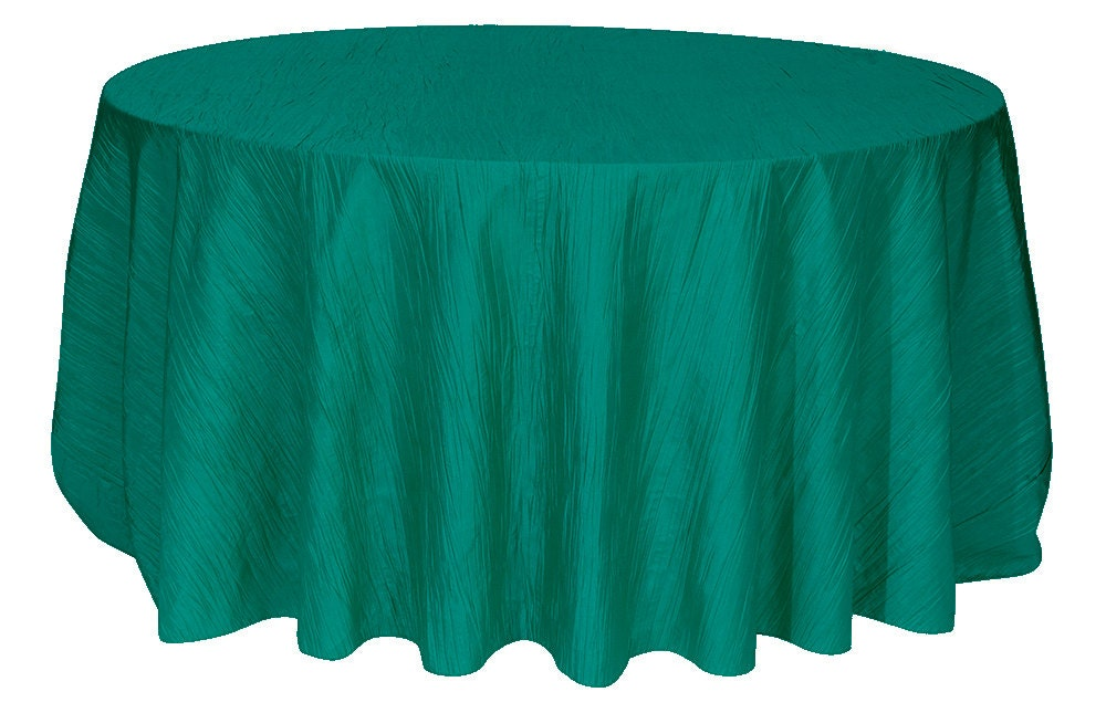 120 Inch Teal Crinkle Taffeta Round Tablecloth Wedding