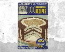 Pillsbury Cookbook | 100 Grand National Recipes from Pillsbury's 5th Recipe & Baking Contest | 50s Navy Blue Cook Book | Cute Kitchen Decor