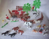 Vintage Plastic Farm Animal Set, 48 Pieces