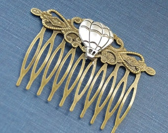 Travel Hair Clip, Hot Air Balloon Jewelry, Rustic Hair Comb, Hot Air Balloon Hair Clip, Steampunk Cosplay, Victorian Cosplay, Travel GIfts