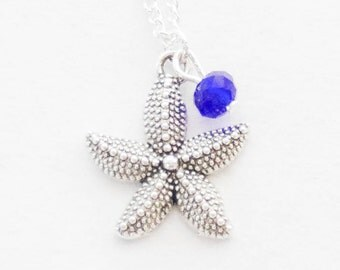 Seastar Necklace Nautical Necklace Star fish Birthstone Necklace Gift Silver Starfish Jewelry Silver Star Necklace Bridesmaid Necklace Gift