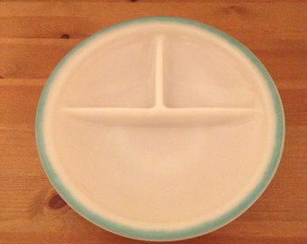 Fire King Turquoise Ivory Children's Divided Plate