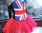 Union Jack boned corset with red net tutu skirt halloween party burlesque corset all boned top