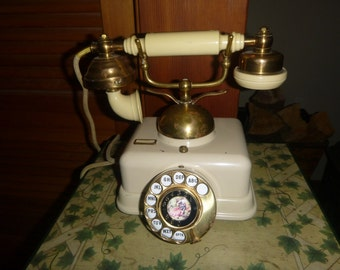 Vintage Telephone Victorian Style French Rotary Dial with Limogue Centerpiece Model JN 4
