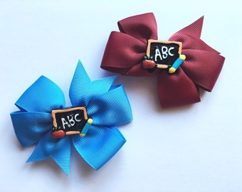 School ABC hair bows