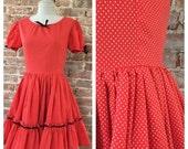 BIG Sale 30% Size S / M - 1950s Red Polka Dot Swing Dress - Square Dance