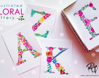 Watercolour Floral Monogram original Art Print  - A5 - A6 - Handmade in UK