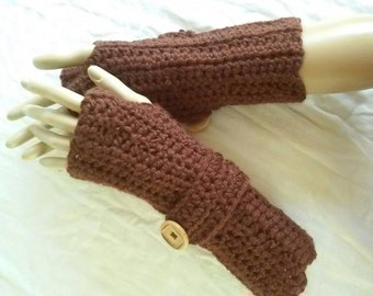 Crochet Fingerless Gloves-Thick and Cozy- Sienna Brown