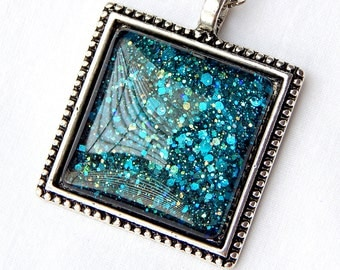 Teal Glass Pendant; Glitter Necklace; Hand Painted Glass Jewelry; Square Glass Pendant Necklace; Black Pendant; Teal Nail Polish Jewelry