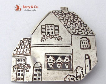 SaLe! sALe! Figural House Brooch Sterling Silver