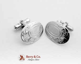 SaLe! sALe! Aesthetic Engraved Oval Cuff Links Sterling Silver 1930