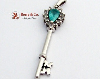 Key Pendant Sterling SIlver Topaz CZ