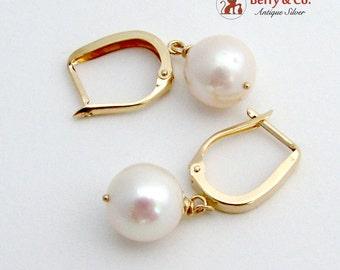 Cultured Pearl Dangle Earrings 14K Yellow Gold 1980