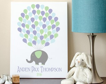 Elephant Baby Guest Book, Elephant Baby Shower, Guest Book, Elephant Baby Shower Guest Book Alternative - 11x14 - 65 Balloons