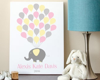 Elephant Baby Guest Book, Elephant Baby Shower, Guest Book, Elephant Baby Shower Guest Book Alternative - 8x10 - 29 Balloons