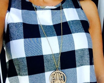 Monogrammed Wood Necklace