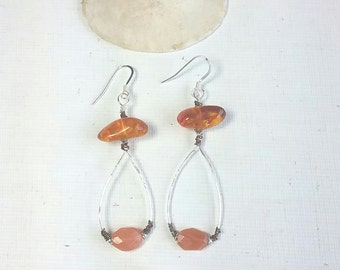 long stone dangle earrings,  amber earrings, moonstone earrings, long silver earrings, peach moonstone, boho earrings