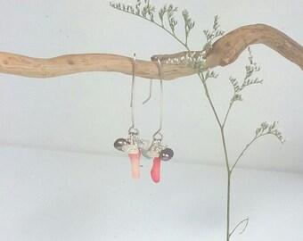 sterling and gemstone cluster dangle earrings, moonstone earrings, long stone earrings, boho earthy whimsical
