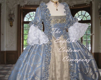 Marie Antoinette dress. Georgian colonial 18th century evening gown.Fully boned for authentic bust lift;no corset required