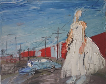 RAILWAY WEDDING - Original Oil Painitng - Modern Art - Contemporary Art - Fashion Style