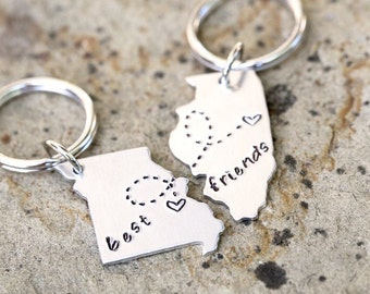 State Keychain Set - Two(2)- Choose your State, Heart Locations, and message_#SETbf-tr