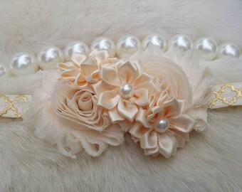 Ivory Headband/Flower Girl Headband/Infant Headband/Baby Headband/Newborn Headband/Toddler Headband/Girl Headband/Headband/Ivory Headband
