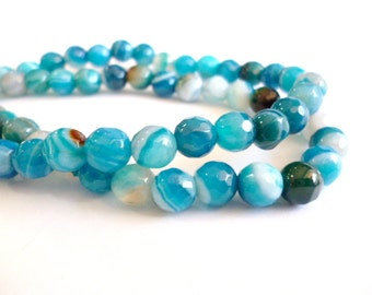 Facetted Blue Agate Beads_CP00248100945_Gems_6 mm Facet. Agate _Blue Stripped_1 mm hole_Strand 60 pcs