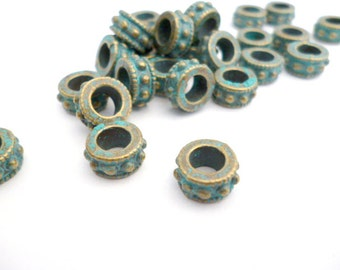 Brass Patina Metal Beads_Pack 45 pcs_S97897987987_Patina Supplies_of 8 x5 mm_ 0/3 x 0/5 in_hole _4 mm 0/3 in