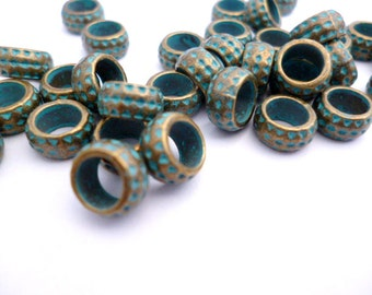 Brass Patina Metal Beads_S68645654654654_Patina Supplies_Large Hole Beads_50 pcs_of 8x4 mm_0/5 x 0/4 in_hole 5 mm_0/3 in