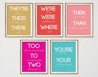 Teacher Posters, Classroom Prints, Back to School, Teacher Gift, School Decor, Classroom Decor, Grammar Poster, Typography Prints, Set of 5