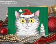 Cat Christmas Card, Grey Tabby Cat, Cat Lover Christmas Card, Cute Cat Card, Christmas Cat, Happy Christmas Card, Festive Notecard, Cats