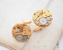 Gold Cufflinks For Men Round Steampunk Cuff Links Watch Mechanisms Cufflinks Set Steampunk Gifts for Men