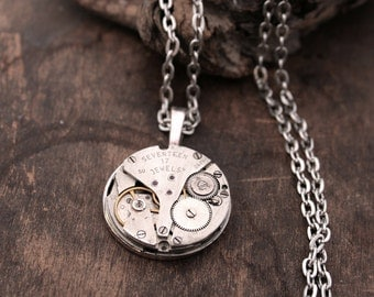 Industrial Necklace with Gents Watch Movement Steel Charm Necklace Steam Punk Jewellery Halloween Necklace Costume Jewelry