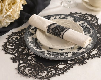Black Lace Paper Placemats Laser Cut Design For Wedding Receptions, Holiday Gatherings Or Other Occasion. Set Of 12 Placemats