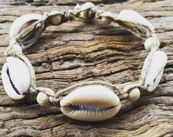 Handmade Hemp Macrame Shell Bracelet with Cowrie Shell & Timber Beads, Bohemian Sea Gypsy