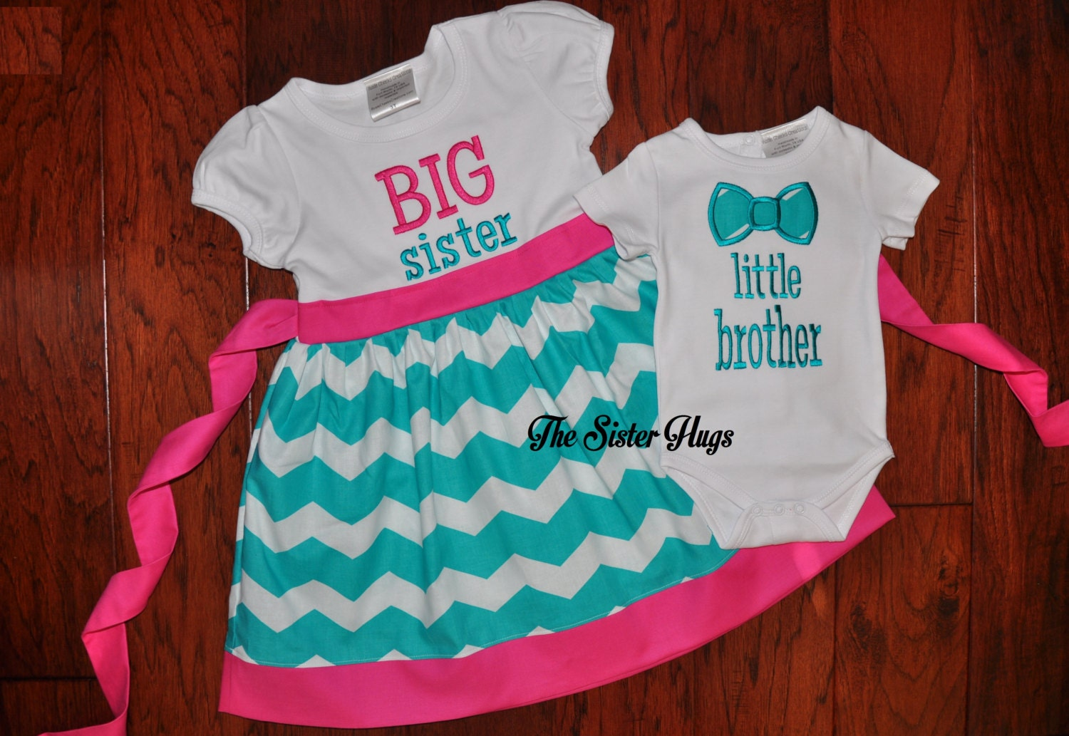 🔎zoom - Long Or Short Sleeve Big Sister Little Brother With Bow Tie