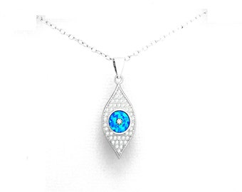 Stunning Evil Eye Pendant with Chain