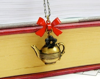 Afternoon Tea - vintage style antique brass necklace