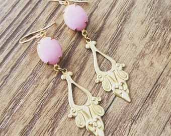 Vintage Pink Baroque Dangle Earrings in Brass on Gold Filled Ear Wires