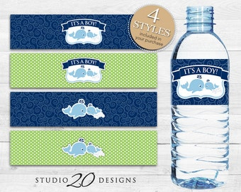 Instant Download Whale Water Bottle Labels, Nautical Navy Blue and Green Water Bottle Labels, It's a Boy Whale Baby Shower Water Labels 20B