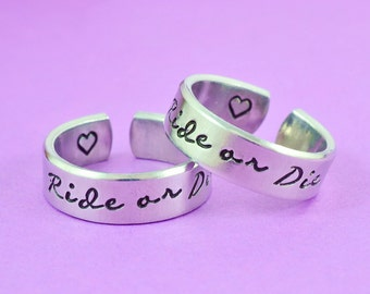 Sisters match ring etsy for Ride or die jewelry