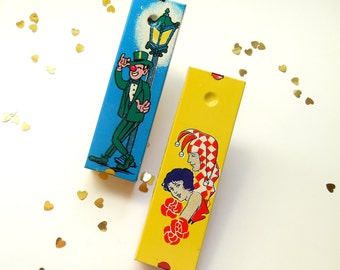 2 Kirchhof Tin Litho Noisemakers ~Vintage Party Favor Ratchets ~ ' Life of the Party /#0497