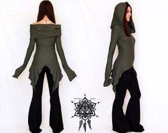 Hooded tunic dress black