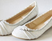 WeDDING LACe FLATS - PARIS Collection - Silver Mesh Lace with Rhinestone Trim - US Size 8B