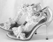 "WeDDING LACe HEELS - SILVER Sandals with Silver Lace Front Trim - Rhinestone Front - US Size 7M - 3.5"" Heel"