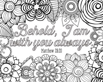 BeHOLD I Am WiTH You DooDLE BoARD 5x7 Coloring Adult coloring Gift for Her Religious Christian Housewarming Thank you Gift Zen Relaxing