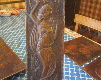 Handcrafted Hammered Copper Relief Art Semi Clad Woman